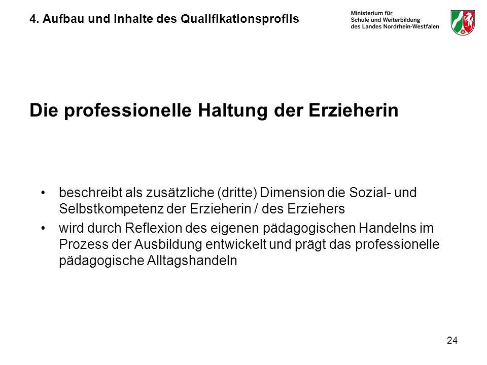 24 Die professionelle Haltung der Erzieherin beschreibt als zusätzliche (dritte) Dimension die Sozial- und Selbstkompetenz der Erzieherin / des Erzieh