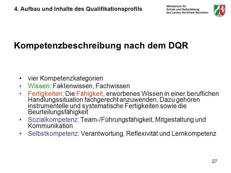 27 Kompetenzbeschreibung nach dem DQR vier Kompetenzkategorien Wissen: Faktenwissen, Fachwissen Fertigkeiten: Die Fähigkeit, erworbenes Wissen in eine