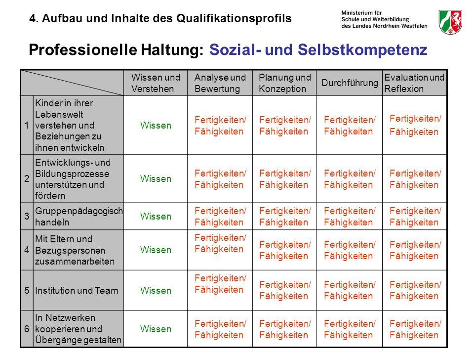 28 Professionelle Haltung: Sozial- und Selbstkompetenz Wissen und Verstehen Analyse und Bewertung Planung und Konzeption Durchführung Evaluation und R