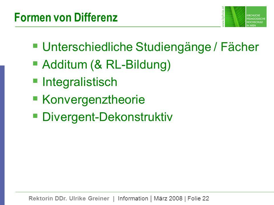 Rektorin DDr. Ulrike Greiner | Information | März 2008 | Folie 22 Formen von Differenz Unterschiedliche Studiengänge / Fächer Additum (& RL-Bildung) I
