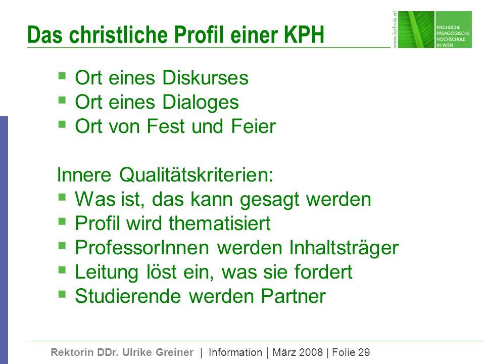 Rektorin DDr. Ulrike Greiner | Information | März 2008 | Folie 29 Das christliche Profil einer KPH Ort eines Diskurses Ort eines Dialoges Ort von Fest