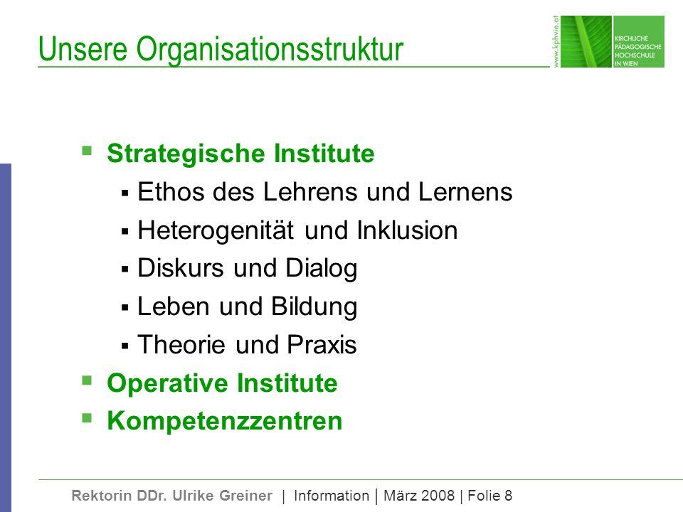 Rektorin DDr. Ulrike Greiner | Information | März 2008 | Folie 8 Unsere Organisationsstruktur Strategische Institute Ethos des Lehrens und Lernens Het