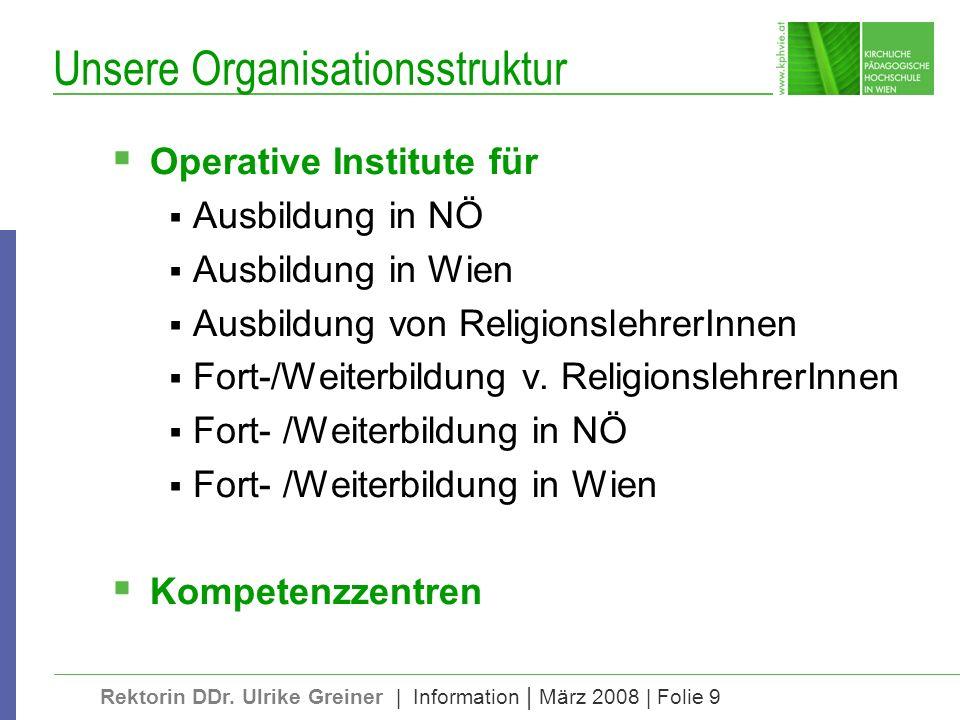 Rektorin DDr. Ulrike Greiner | Information | März 2008 | Folie 9 Unsere Organisationsstruktur Operative Institute für Ausbildung in NÖ Ausbildung in W