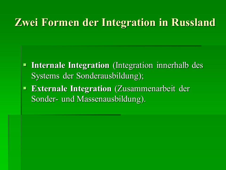 Zwei Formen der Integration in Russland Internale Integration (Integration innerhalb des Systems der Sonderausbildung); Internale Integration (Integration innerhalb des Systems der Sonderausbildung); Externale Integration (Zusammenarbeit der Sonder- und Massenausbildung).