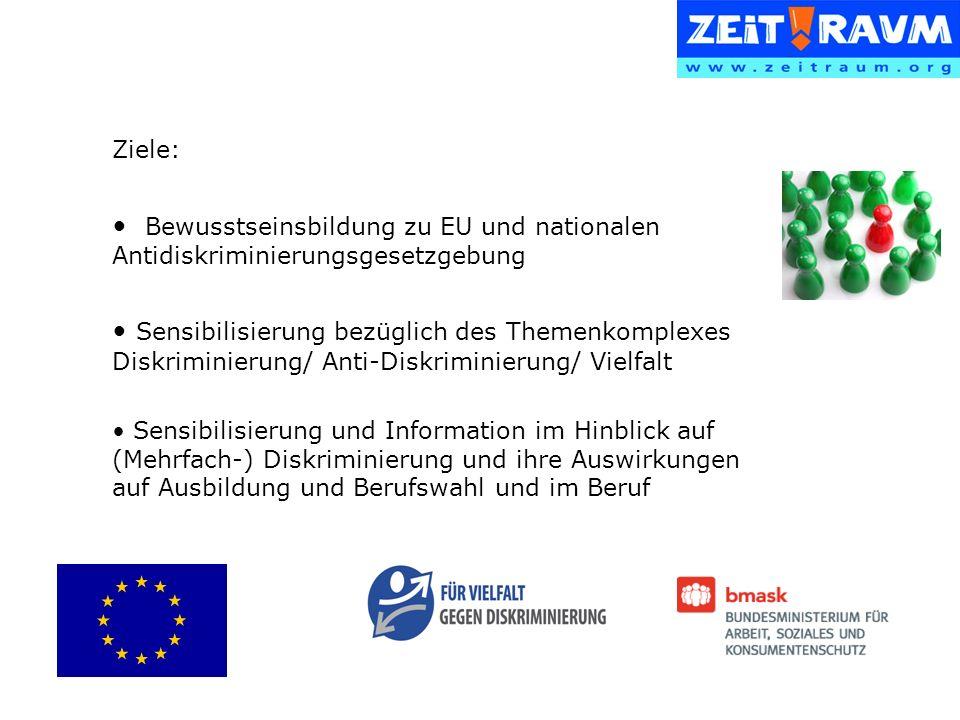 Ziele: Bewusstseinsbildung zu EU und nationalen Antidiskriminierungsgesetzgebung Sensibilisierung bezüglich des Themenkomplexes Diskriminierung/ Anti-Diskriminierung/ Vielfalt Sensibilisierung und Information im Hinblick auf (Mehrfach-) Diskriminierung und ihre Auswirkungen auf Ausbildung und Berufswahl und im Beruf