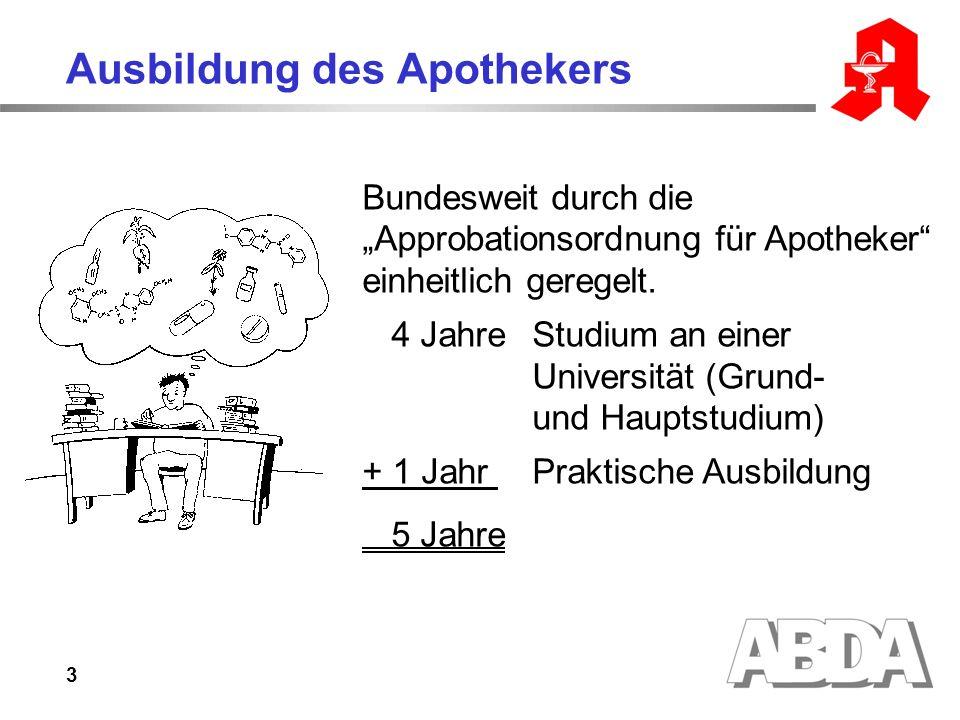 3 Ausbildung des Apothekers Bundesweit durch die Approbationsordnung für Apotheker einheitlich geregelt.