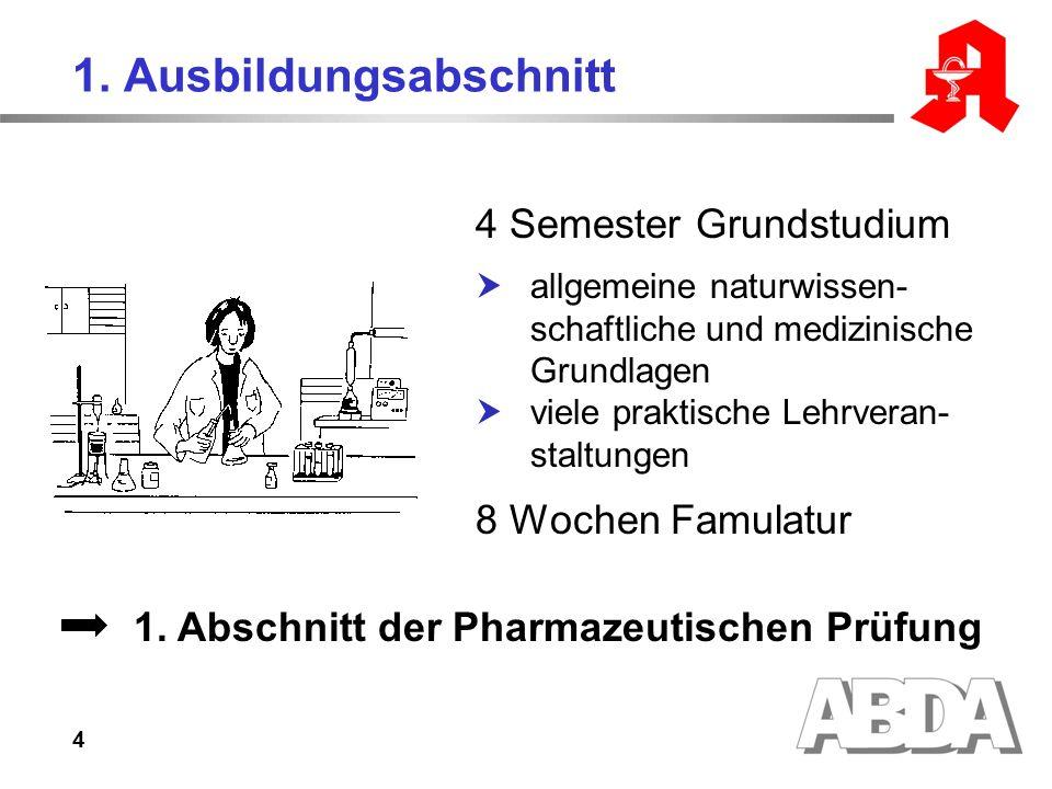 4 1. Ausbildungsabschnitt 4 Semester Grundstudium allgemeine naturwissen- schaftliche und medizinische Grundlagen viele praktische Lehrveran- staltung