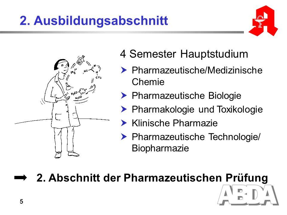 5 2. Ausbildungsabschnitt 4 Semester Hauptstudium Pharmazeutische/Medizinische Chemie Pharmazeutische Biologie Pharmakologie und Toxikologie Klinische