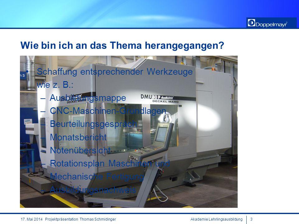 Akademie Lehrlingsausbildung317. Mai 2014 Projektpräsentation Thomas Schmidinger Wie bin ich an das Thema herangegangen? Schaffung entsprechender Werk