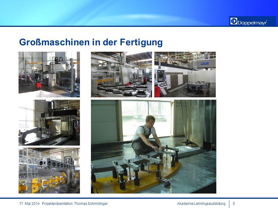 Akademie Lehrlingsausbildung517. Mai 2014 Projektpräsentation Thomas Schmidinger Großmaschinen in der Fertigung