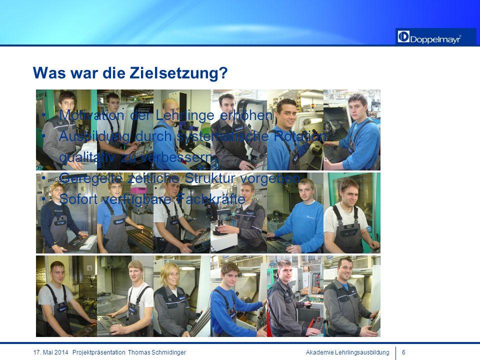 Akademie Lehrlingsausbildung617. Mai 2014 Projektpräsentation Thomas Schmidinger Was war die Zielsetzung? Motivation der Lehrlinge erhöhen Ausbildung