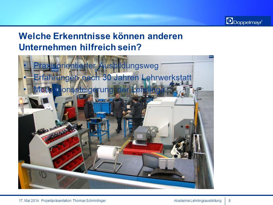 Akademie Lehrlingsausbildung817. Mai 2014 Projektpräsentation Thomas Schmidinger Welche Erkenntnisse können anderen Unternehmen hilfreich sein? Praxis