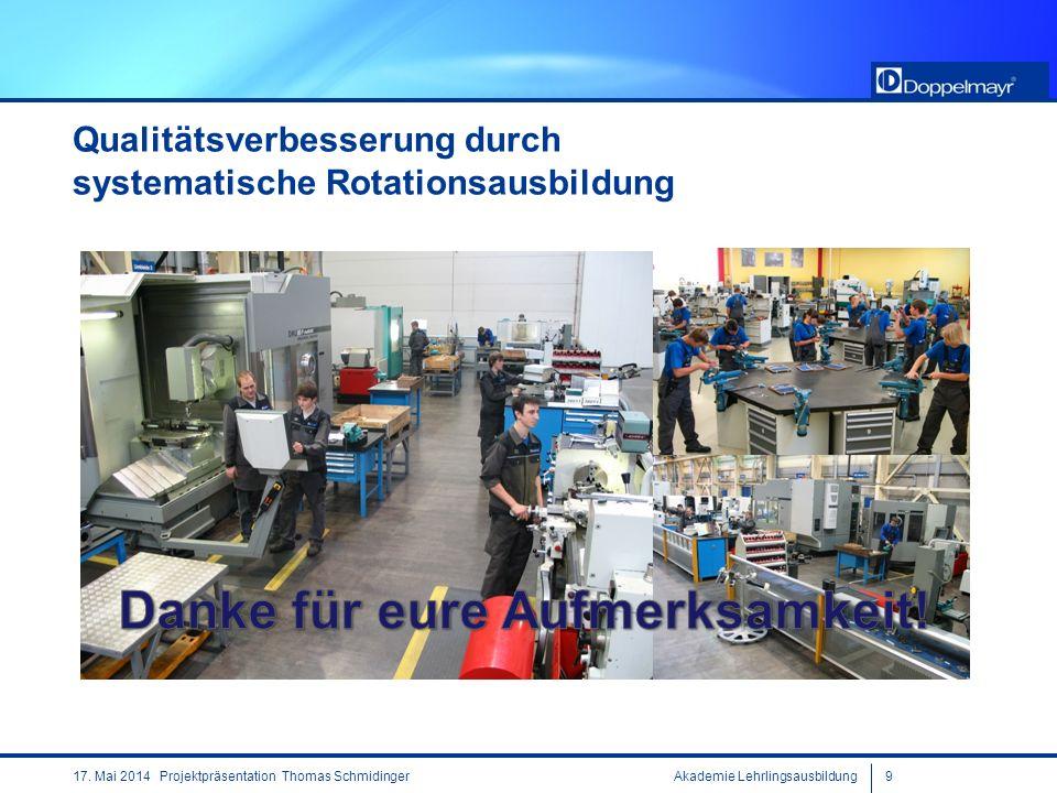 Akademie Lehrlingsausbildung917. Mai 2014 Projektpräsentation Thomas Schmidinger Qualitätsverbesserung durch systematische Rotationsausbildung