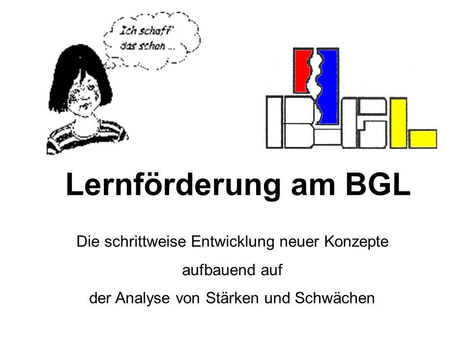 Lernförderung am BGL Die schrittweise Entwicklung neuer Konzepte aufbauend auf der Analyse von Stärken und Schwächen