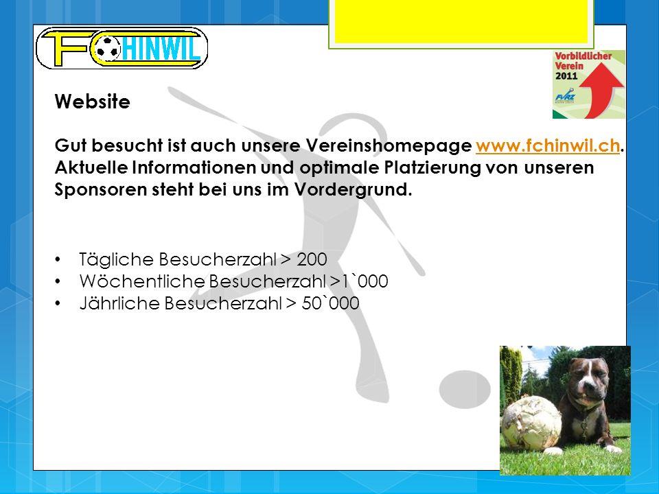 Website Tägliche Besucherzahl > 200 Wöchentliche Besucherzahl >1`000 Jährliche Besucherzahl > 50`000 Gut besucht ist auch unsere Vereinshomepage www.fchinwil.ch.