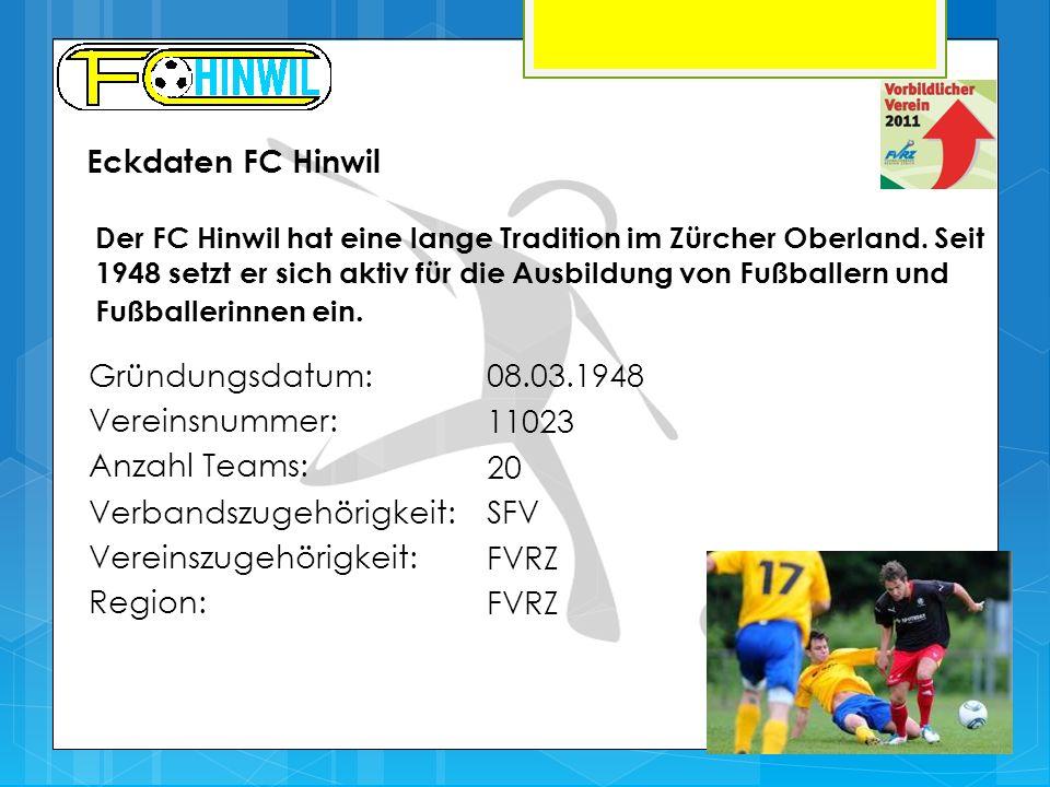 Gründungsdatum:08.03.1948 Vereinsnummer: 11023 Anzahl Teams: 20 Verbandszugehörigkeit:SFV Vereinszugehörigkeit: FVRZ Region: FVRZ Der FC Hinwil hat eine lange Tradition im Zürcher Oberland.