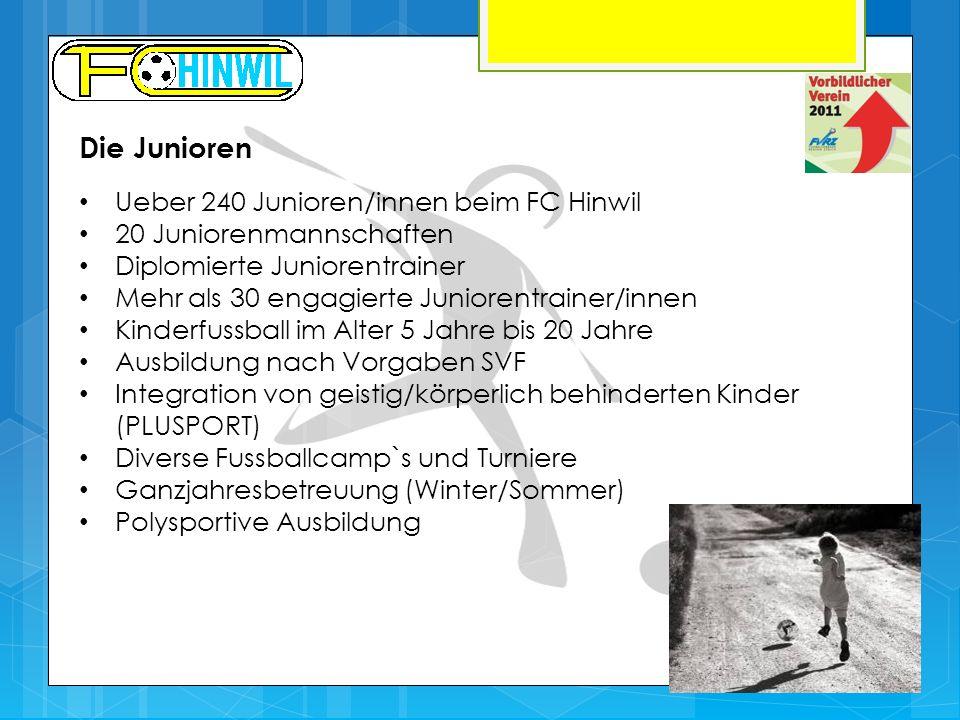 Die Junioren Ueber 240 Junioren/innen beim FC Hinwil 20 Juniorenmannschaften Diplomierte Juniorentrainer Mehr als 30 engagierte Juniorentrainer/innen