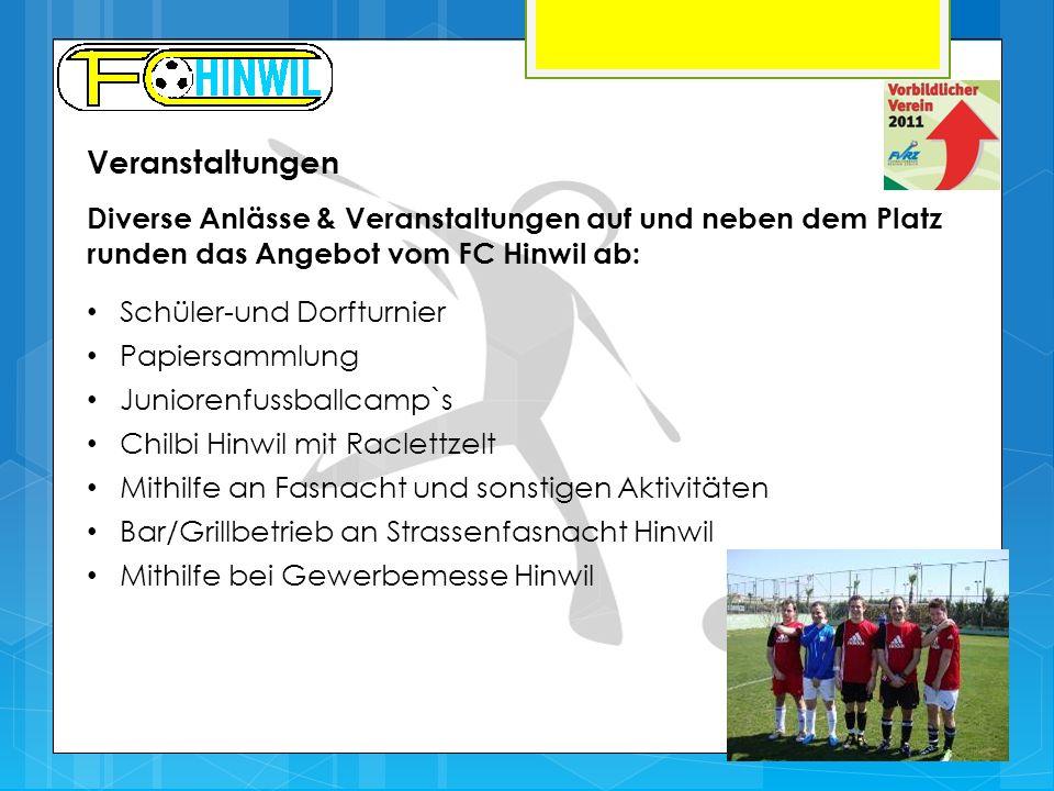 Veranstaltungen Diverse Anlässe & Veranstaltungen auf und neben dem Platz runden das Angebot vom FC Hinwil ab: Schüler-und Dorfturnier Papiersammlung