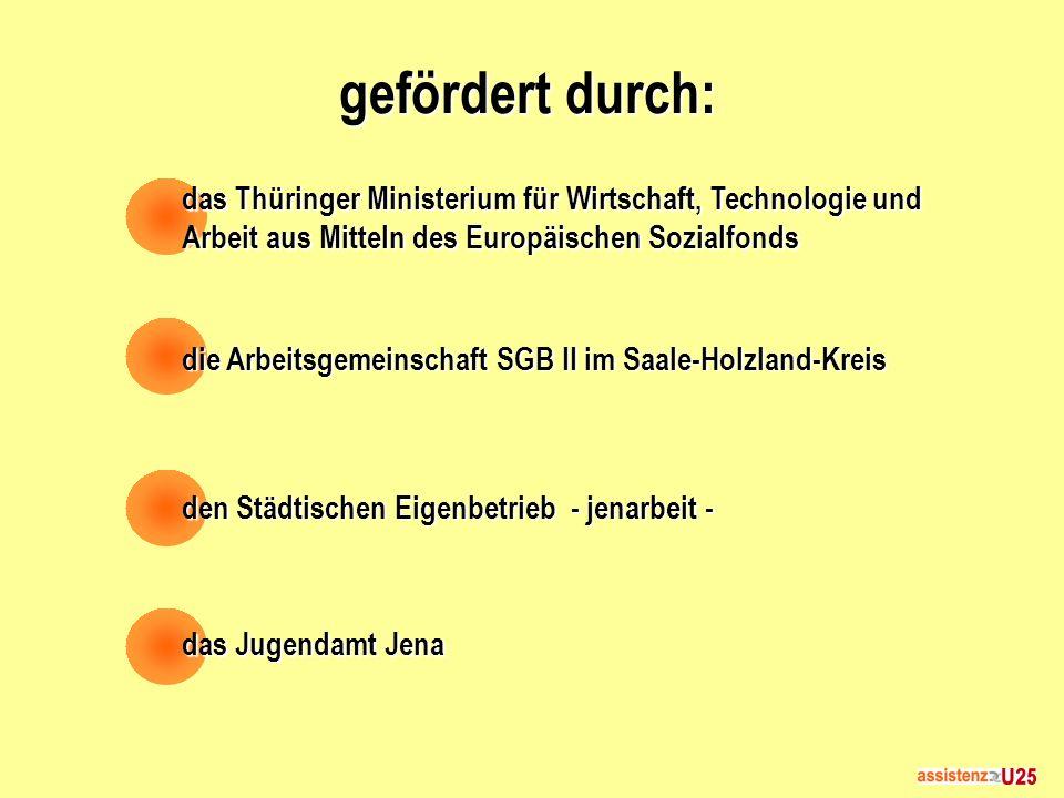 gefördert durch: das Thüringer Ministerium für Wirtschaft, Technologie und Arbeit aus Mitteln des Europäischen Sozialfonds die Arbeitsgemeinschaft SGB