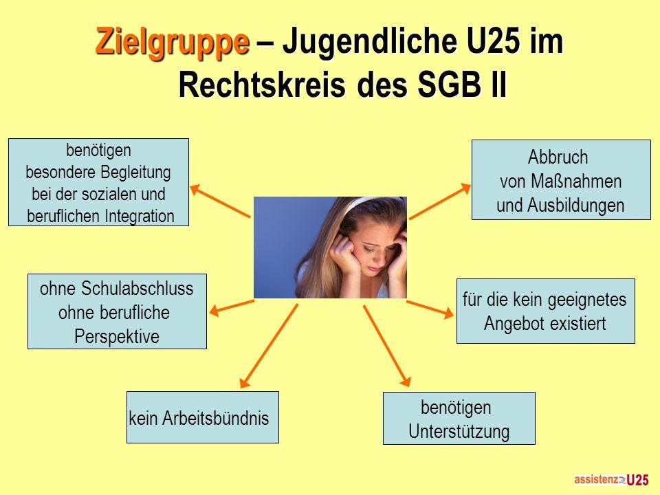 Zielgruppe – Jugendliche U25 im Rechtskreis des SGB II benötigen besondere Begleitung bei der sozialen und beruflichen Integration ohne Schulabschluss