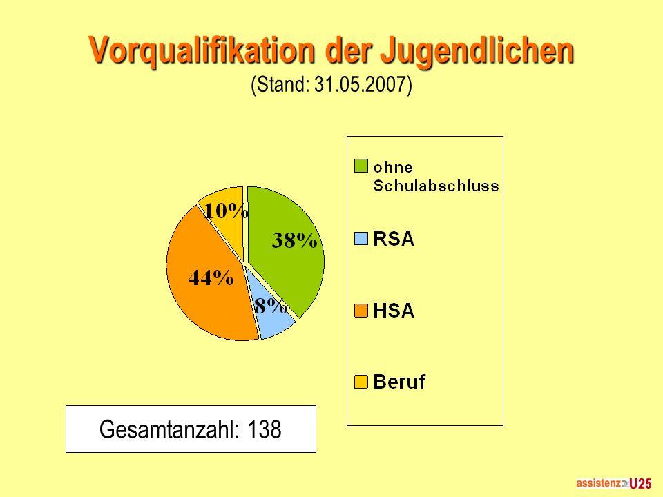Vorqualifikation der Jugendlichen Vorqualifikation der Jugendlichen (Stand: 31.05.2007) Gesamtanzahl: 138