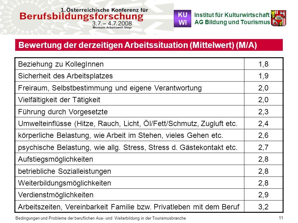 Institut für Kulturwirtschaft AG Bildung und Tourismus Bedingungen und Probleme der beruflichen Aus- und Weiterbildung in der Tourismusbranche 11 Bewe