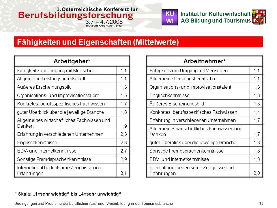 Institut für Kulturwirtschaft AG Bildung und Tourismus Bedingungen und Probleme der beruflichen Aus- und Weiterbildung in der Tourismusbranche 13 Fähi