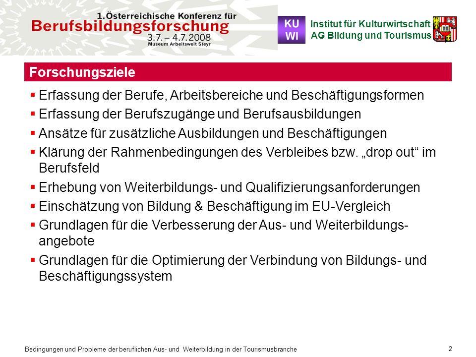 Institut für Kulturwirtschaft AG Bildung und Tourismus Bedingungen und Probleme der beruflichen Aus- und Weiterbildung in der Tourismusbranche 2 Forsc