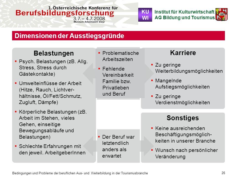 Institut für Kulturwirtschaft AG Bildung und Tourismus Bedingungen und Probleme der beruflichen Aus- und Weiterbildung in der Tourismusbranche 26 Zu g