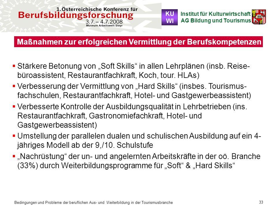 Institut für Kulturwirtschaft AG Bildung und Tourismus Bedingungen und Probleme der beruflichen Aus- und Weiterbildung in der Tourismusbranche 33 Maßn