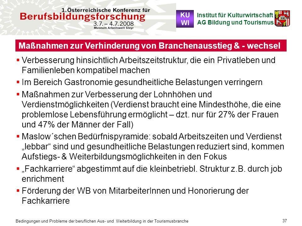 Institut für Kulturwirtschaft AG Bildung und Tourismus Bedingungen und Probleme der beruflichen Aus- und Weiterbildung in der Tourismusbranche 37 Maßn