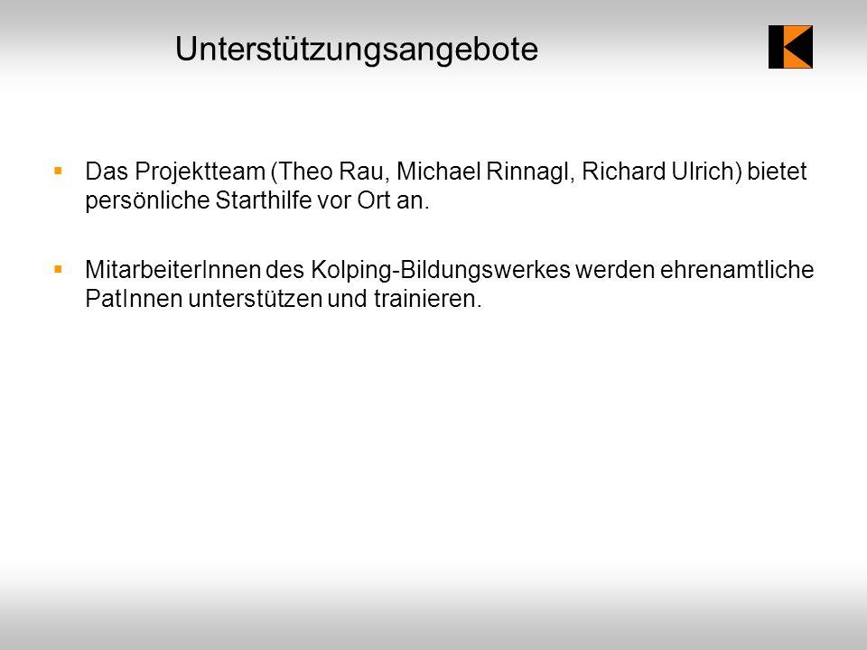 Unterstützungsangebote Das Projektteam (Theo Rau, Michael Rinnagl, Richard Ulrich) bietet persönliche Starthilfe vor Ort an.