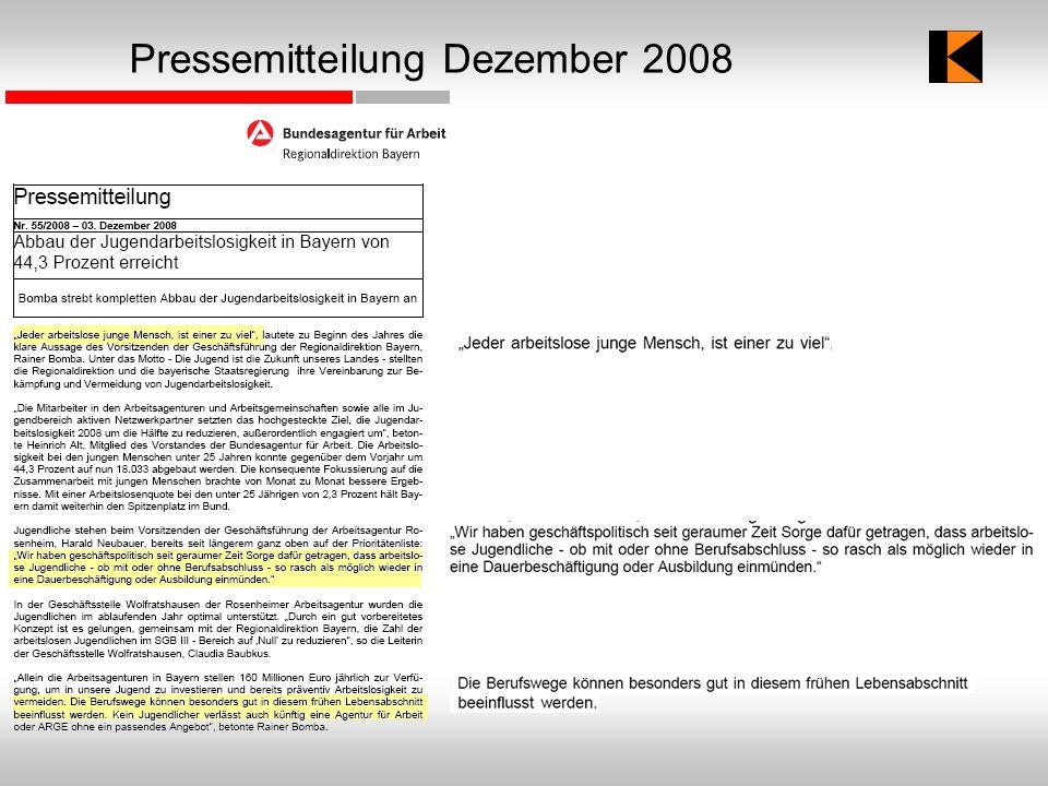 Pressemitteilung Dezember 2008