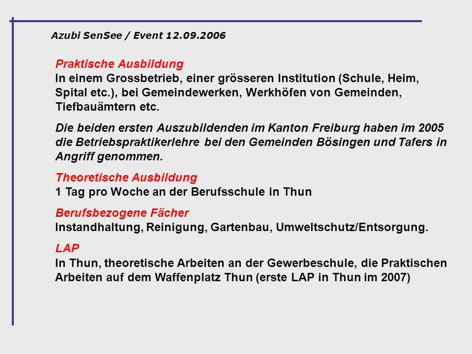 Azubi SenSee / Event 12.09.2006 Praktische Ausbildung In einem Grossbetrieb, einer grösseren Institution (Schule, Heim, Spital etc.), bei Gemeindewerk