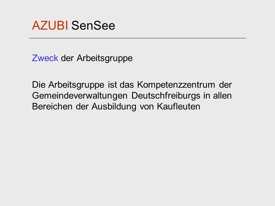 AZUBI SenSee Zweck der Arbeitsgruppe Die Arbeitsgruppe ist das Kompetenzzentrum der Gemeindeverwaltungen Deutschfreiburgs in allen Bereichen der Ausbi