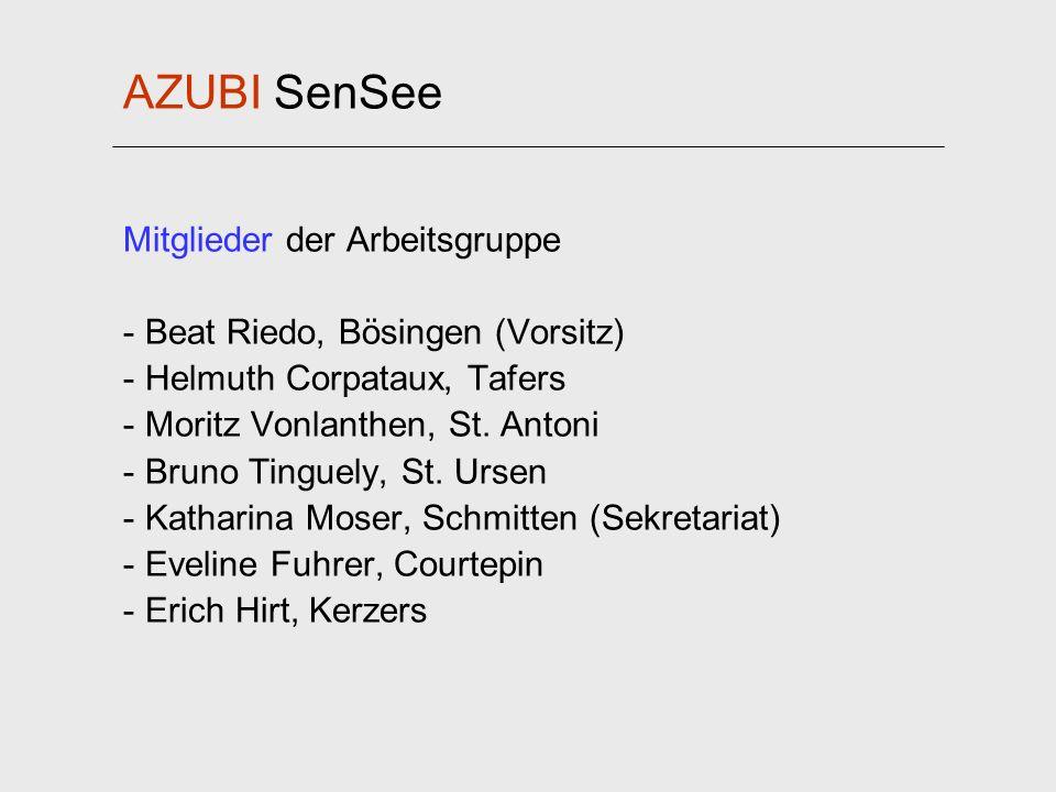 AZUBI SenSee Mitglieder der Arbeitsgruppe - Beat Riedo, Bösingen (Vorsitz) - Helmuth Corpataux, Tafers - Moritz Vonlanthen, St. Antoni - Bruno Tinguel