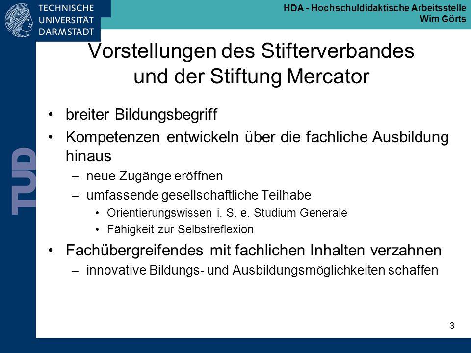 HDA - Hochschuldidaktische Arbeitsstelle Wim Görts 3 Vorstellungen des Stifterverbandes und der Stiftung Mercator breiter Bildungsbegriff Kompetenzen