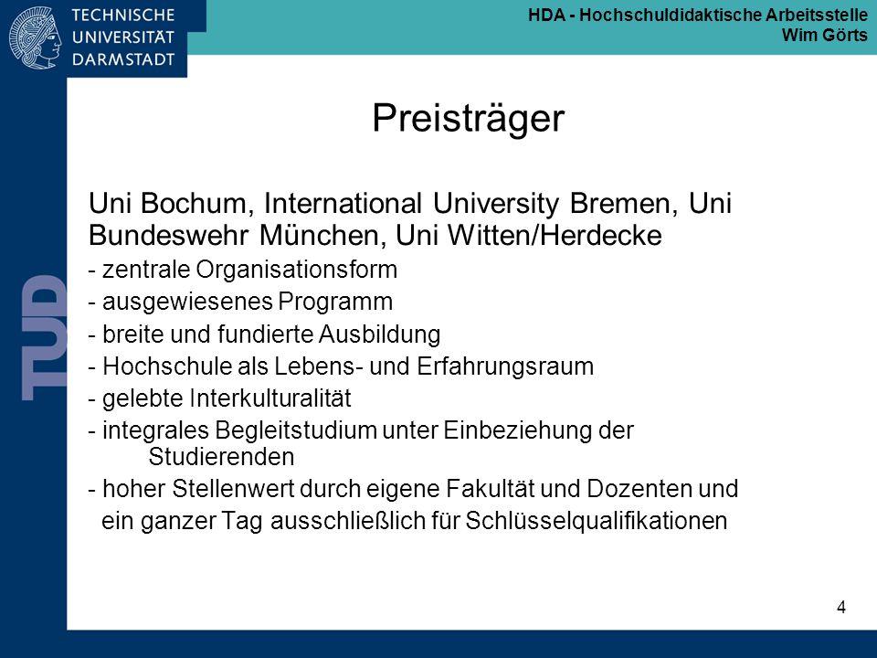 HDA - Hochschuldidaktische Arbeitsstelle Wim Görts 4 Preisträger Uni Bochum, International University Bremen, Uni Bundeswehr München, Uni Witten/Herde