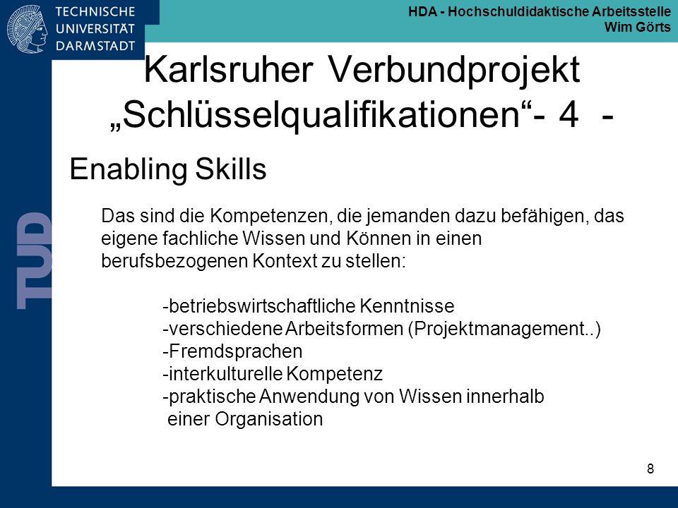 HDA - Hochschuldidaktische Arbeitsstelle Wim Görts 8 Karlsruher Verbundprojekt Schlüsselqualifikationen- 4 - Enabling Skills Das sind die Kompetenzen,