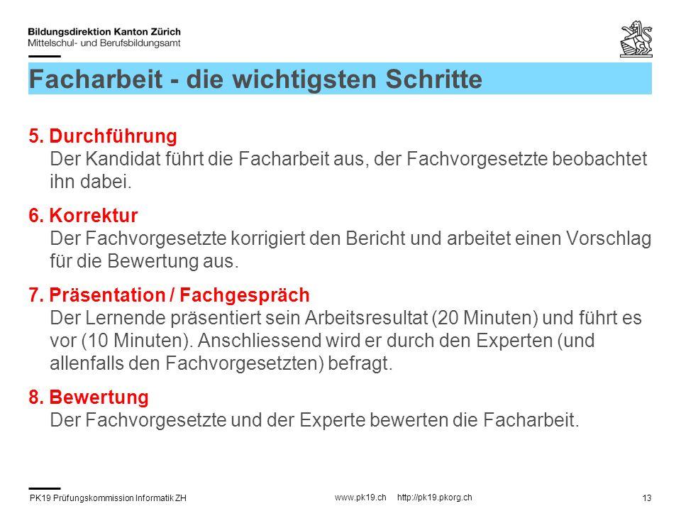 PK19 Prüfungskommission Informatik ZH www.pk19.ch http://pk19.pkorg.ch 13 Facharbeit - die wichtigsten Schritte 5.