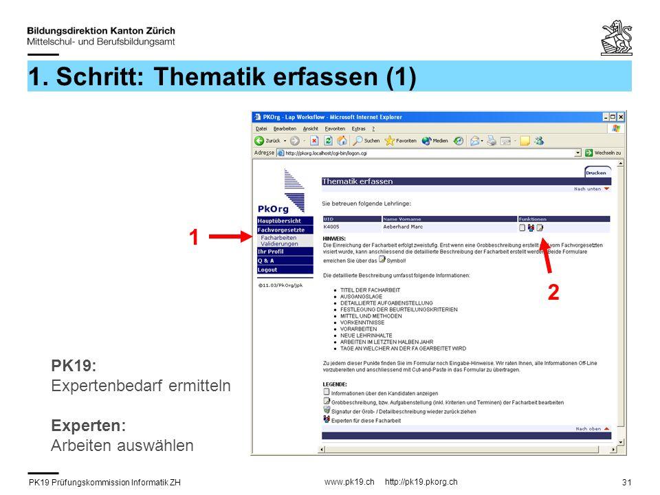 PK19 Prüfungskommission Informatik ZH www.pk19.ch http://pk19.pkorg.ch 31 1.