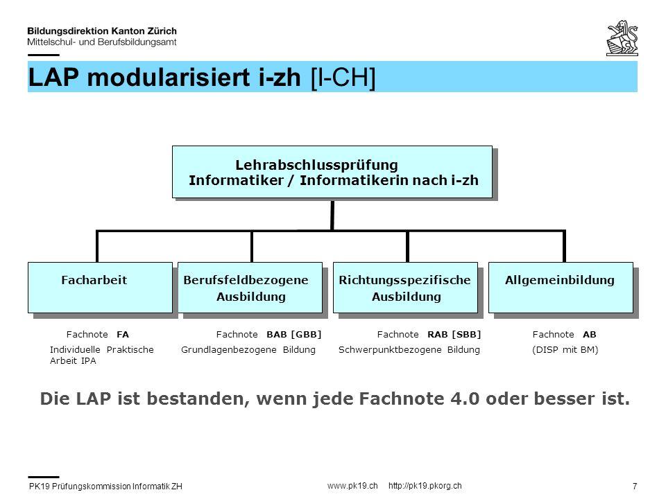 PK19 Prüfungskommission Informatik ZH www.pk19.ch http://pk19.pkorg.ch 8 Facharbeit (IPA) FA-Absolvent/in PK19-Experten/in Fachvorgesetzte/r PK-19