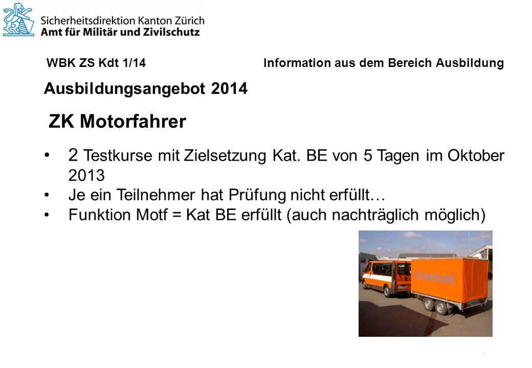 10 WBK ZS Kdt 1/14 Information aus dem Bereich Ausbildung Ausbildungsangebot 2014 ZK Motorfahrer 2 Testkurse mit Zielsetzung Kat.