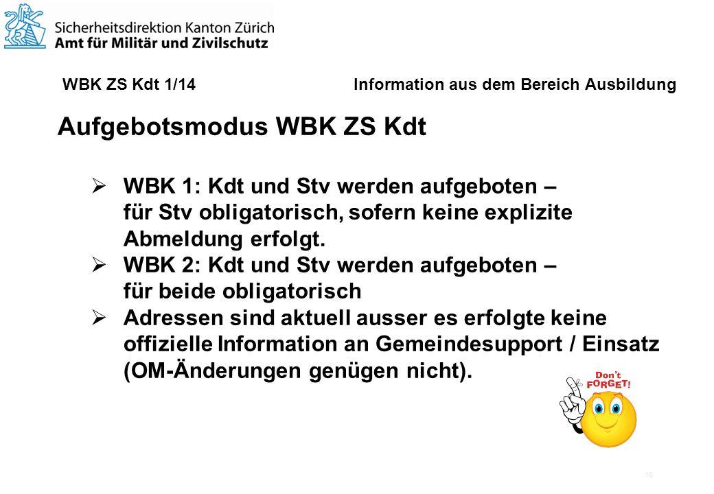 15 WBK ZS Kdt 1/14 Information aus dem Bereich Ausbildung Aufgebotsmodus WBK ZS Kdt WBK 1: Kdt und Stv werden aufgeboten – für Stv obligatorisch, sofern keine explizite Abmeldung erfolgt.