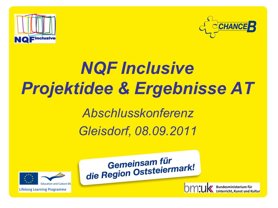NQF Inclusive Projektidee & Ergebnisse AT Abschlusskonferenz Gleisdorf, 08.09.2011