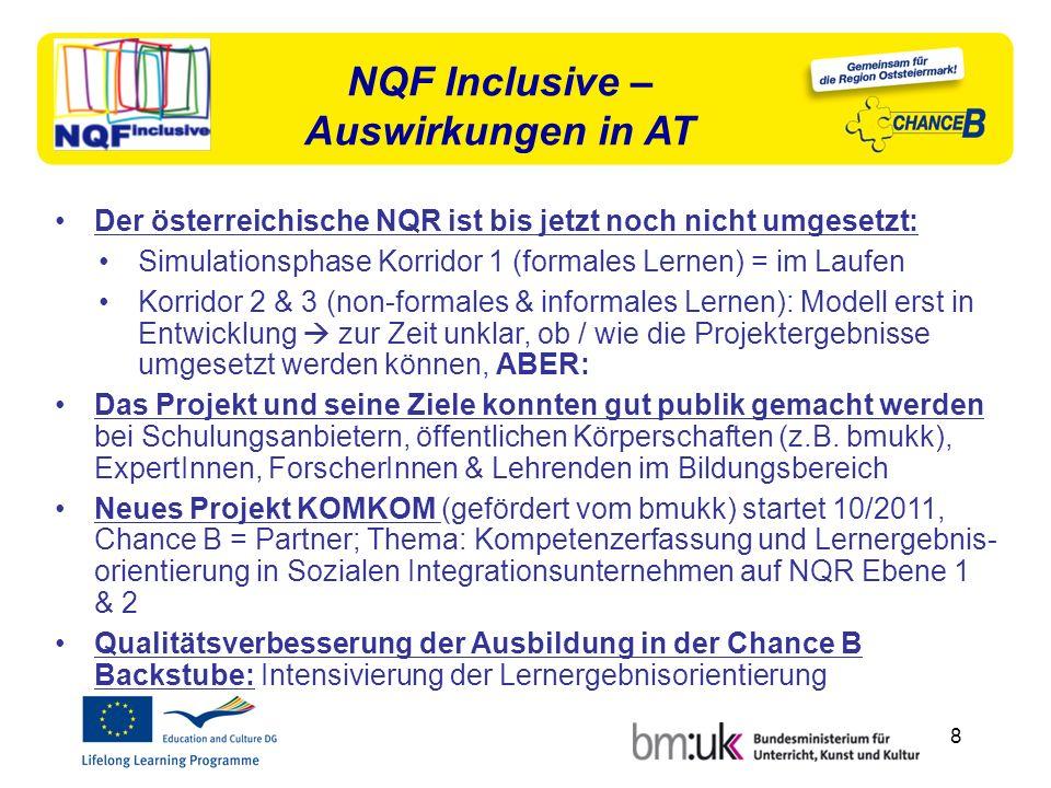 8 Der österreichische NQR ist bis jetzt noch nicht umgesetzt: Simulationsphase Korridor 1 (formales Lernen) = im Laufen Korridor 2 & 3 (non-formales & informales Lernen): Modell erst in Entwicklung zur Zeit unklar, ob / wie die Projektergebnisse umgesetzt werden können, ABER: Das Projekt und seine Ziele konnten gut publik gemacht werden bei Schulungsanbietern, öffentlichen Körperschaften (z.B.