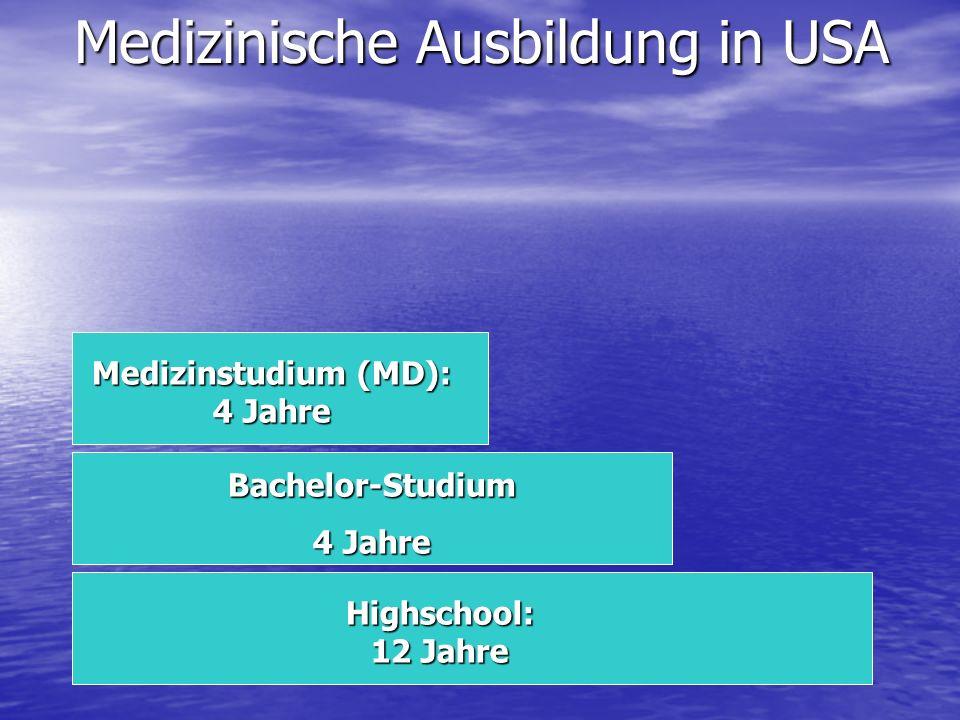 Medizinische Ausbildung in USA Medizinstudium (MD): 4 Jahre Bachelor-Studium 4 Jahre Highschool: 12 Jahre