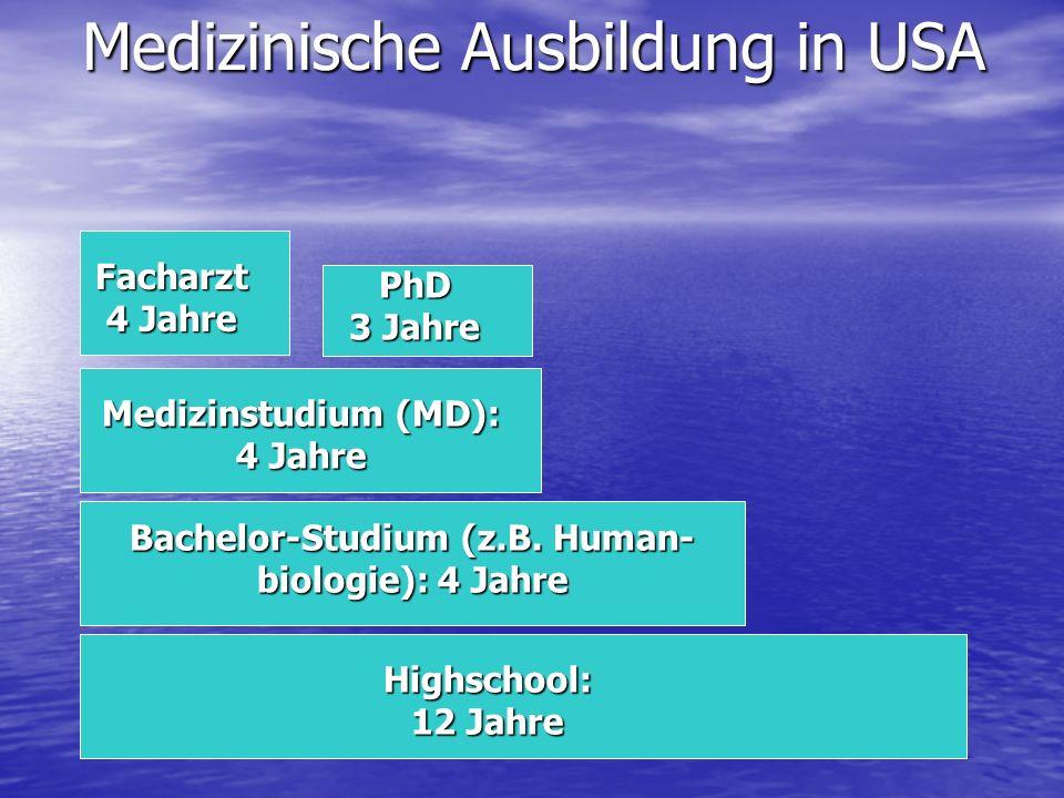 Medizinische Ausbildung in USA Medizinstudium (MD): 4 Jahre Bachelor-Studium (z.B.