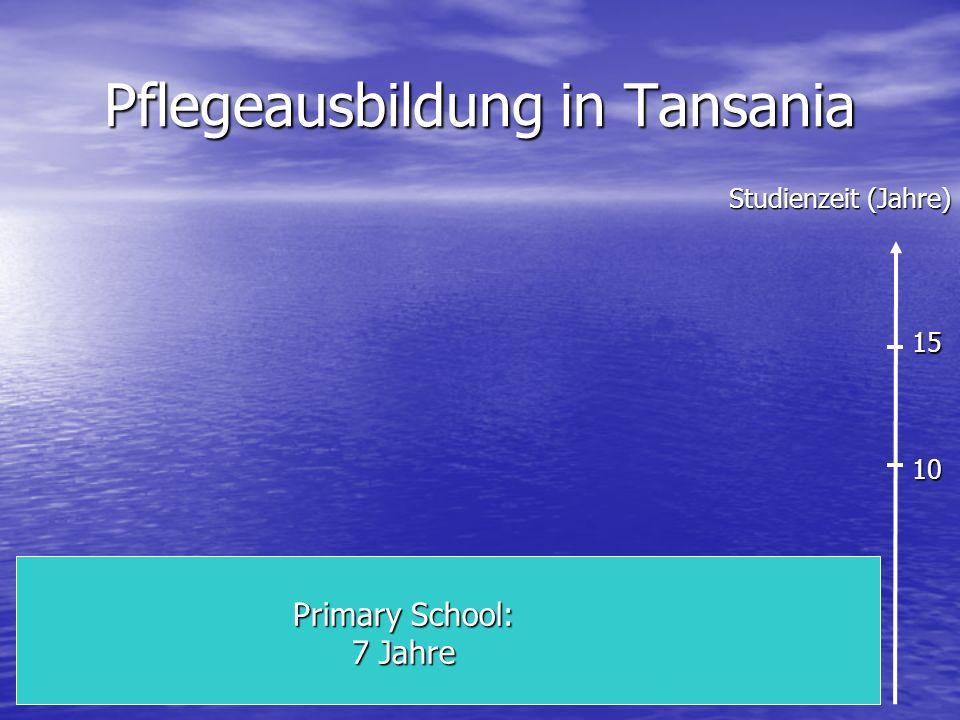 Pflegeausbildung in Tansania Primary School: 7 Jahre Studienzeit (Jahre) 10 15