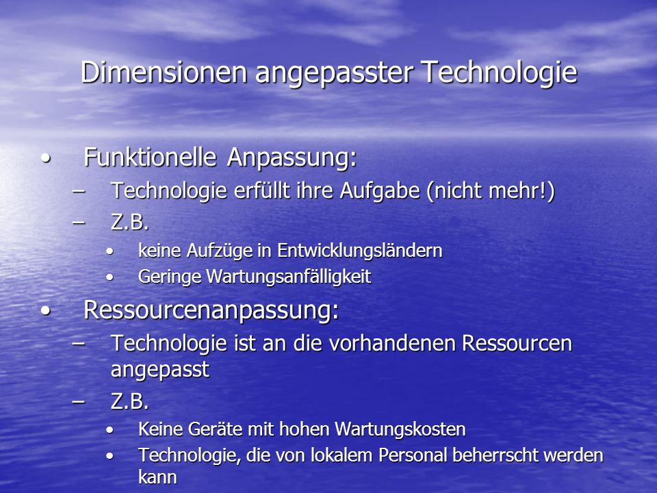 Dimensionen angepasster Technologie Funktionelle Anpassung:Funktionelle Anpassung: –Technologie erfüllt ihre Aufgabe (nicht mehr!) –Z.B.